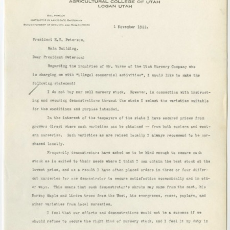 Emil Hansen to President E.G. Peterson, November 1, 1929