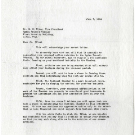 Letter from Marcellus to Mr. Titus, Benefits of Chamber Membership, 1944<br />