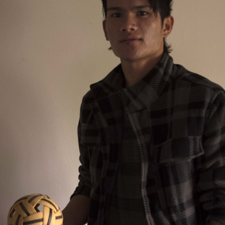 Snay Tun posing with Takraw ball