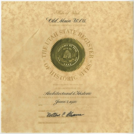 Old Main: Utah State Register of Historic Places Certificate, 1970