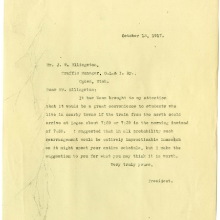 Peterson to Ellingson, O.L.I. Schedule Adjustment, 1917<br />