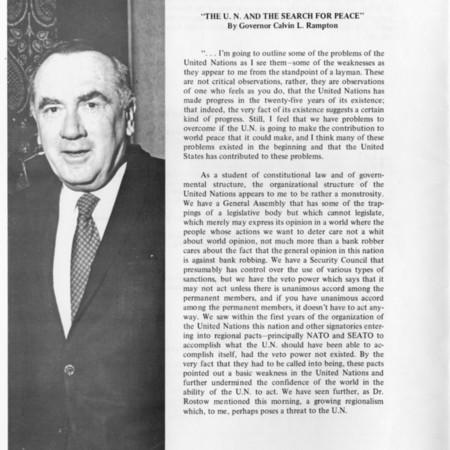 Governor Rampton's Criticism of U.N.
