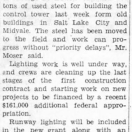 """""""Work Begins on Airport Tower"""" article in the North Cache News from August 7, 1942"""