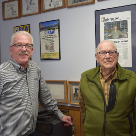 Photograph of Ben and Jim Jarvis (left to right), April 4, 2018