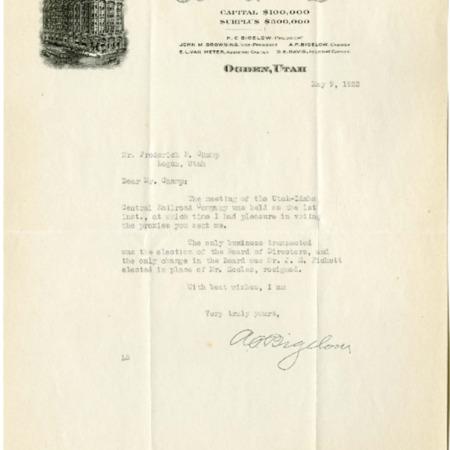 Bigelow's Report, Stockholder Meeting, 1922<br />