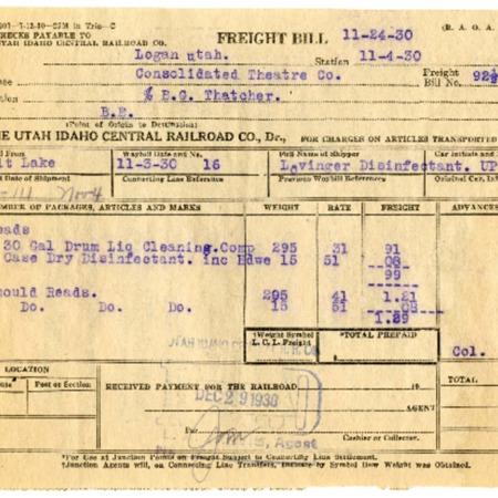 Consolidated Theatre Co. (Capitol Theatre) U.I.C. Freight Bill, 1930<br />
