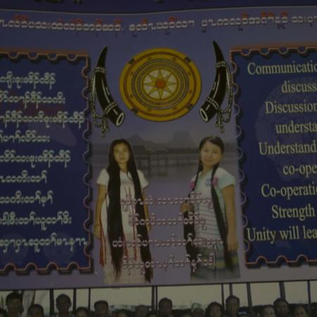 Burmese calendar with English translation of Burmese writing
