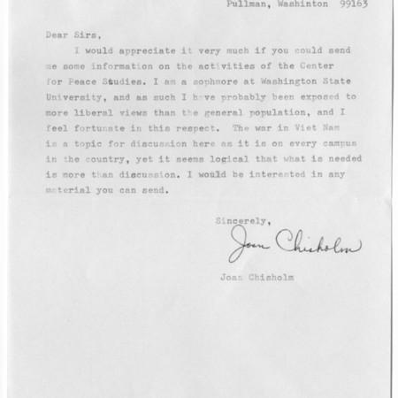 Letter - Joan Chisholm