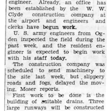 """""""Logan-Cache Airport Job Begins This Week"""" article in the North Cache News from January 30, 1942"""