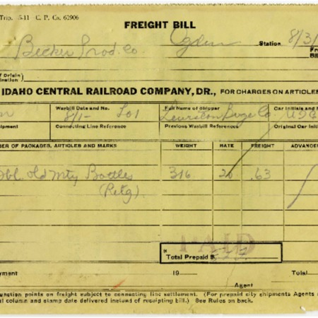 U.I.C. Freight Bill for the Lewiston Beverage Company, 1923<br />