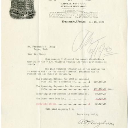 Bigelow's Report, Stockholder Meeting, 1923<br />