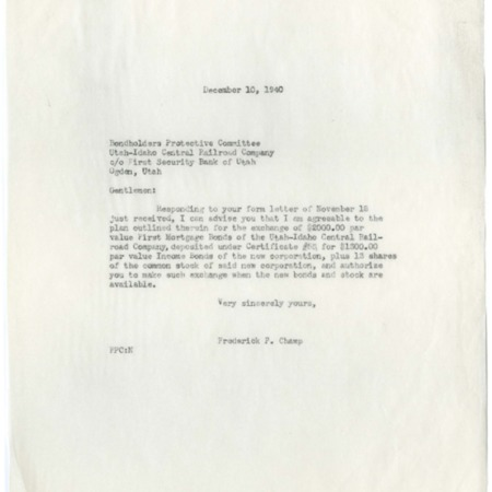Champ's Response to Bondholder Protective Committee, 1940<br />