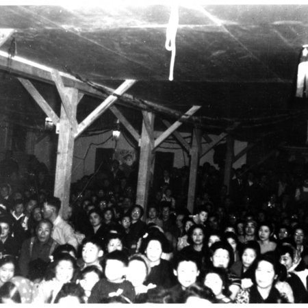 Crowd of Japanese American Internees