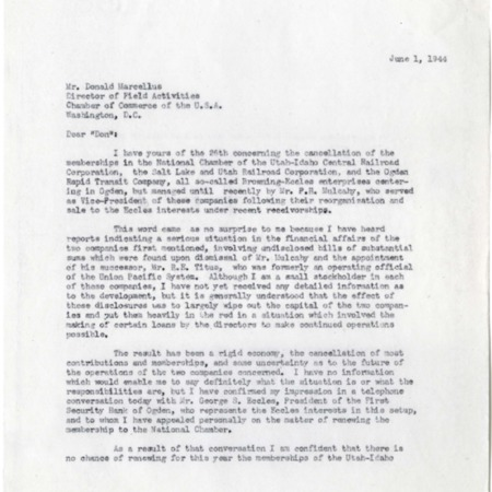 Champ's Reply to Marcellus, Renewing the U.I.C.'s Chamber Membership, 1944<br />