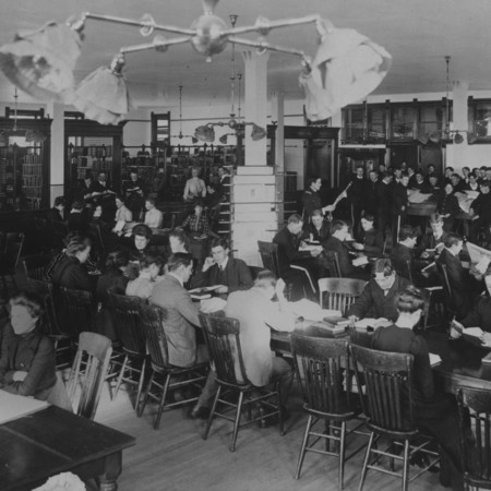 Students in the Library Reading Room, located in the north wing of Old Main, 1903