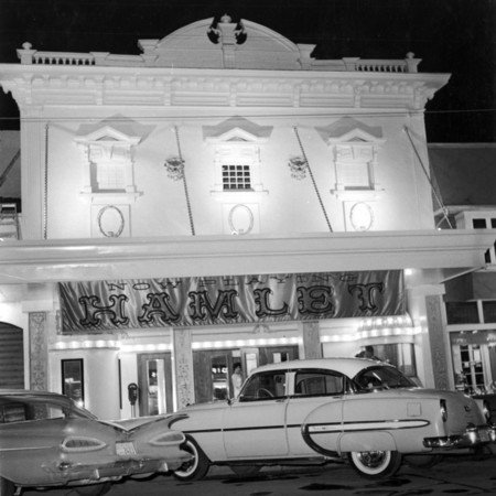 Outside front entrance of Lyric Theater on its opening night under USU auspices, Monday, April 3, 1961