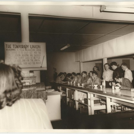 Students at the Temporary Union lunch-counter, c. 1950