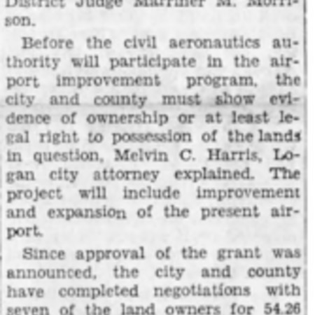 """""""Court Grants Airport 173.81 Acres of Land"""" article in the North Cache News from August 29, 1941"""