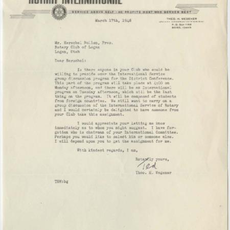 Rotary Correspondence of Herschel Bullen, 1948