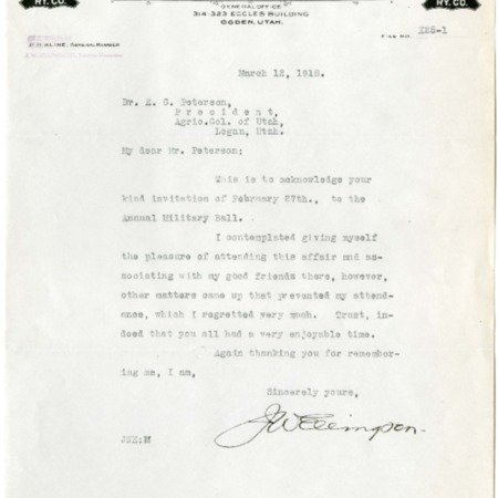 Ellingson to Peterson, Military Ball Invitation, 1918<br />