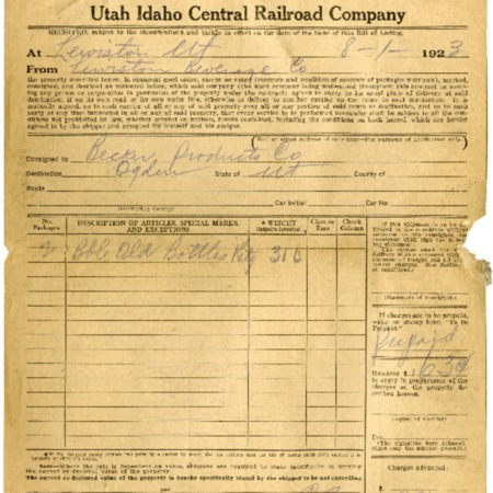 U.I.C. Bill of Lading for the Lewiston Beverage Company, 1923<br />