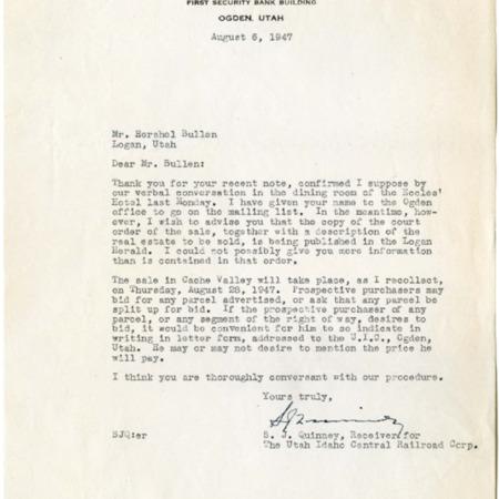 S.J. Quinney to Herschel Bullen, Auction of U.I.C. Real Estate, August, 1947<br />