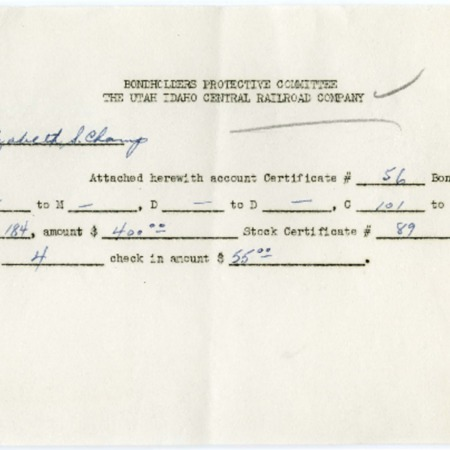 Elizabeth S. Champ's U.I.C. Bond Certificate #56, 1940<br />