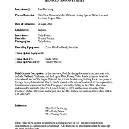 Frederick Berthrong Oral History Transcript, April 26, 2018
