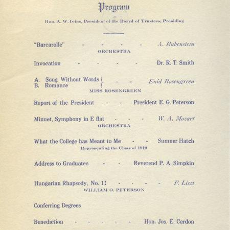 1919 UAC Commencement Program Page 1