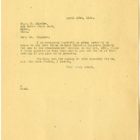 Champ to Bigelow, Stockholder Meeting, 1922<br />
