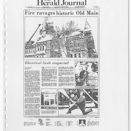 Herald Journal, Old Main fire, 1983
