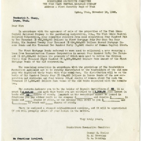 Bondholder Protective Committee Letter to Champ, 1940<br />
