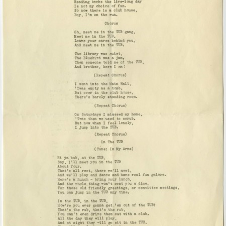 "Transcribed copy of ""Meet Me at the TUB,"" c. 1945"