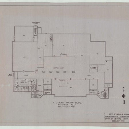Student Union Building blueprints, 1952
