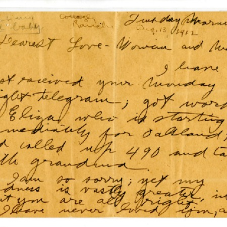 Jack London letter to Charmian London, dated August 13, 1912