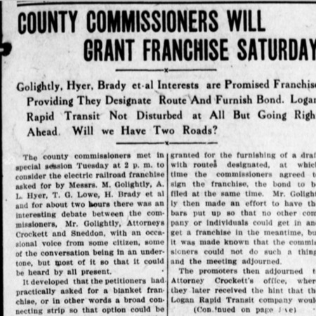 """County Commissioners Will Grant Franchise Saturday,"" Logan Republican, 1912<br />"