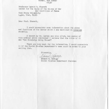 Letter - Edward R. Savage
