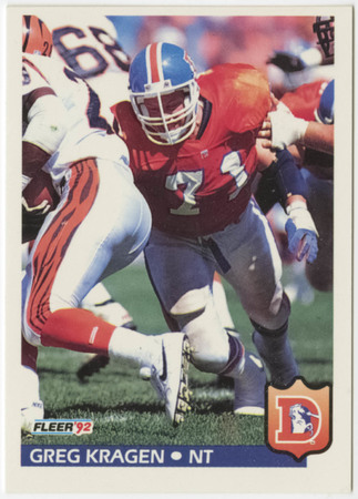 Football card - Greg Kragen, Denver Broncos, 1992