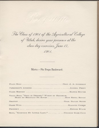 1901 UAC Commencement Invitation, Page 1