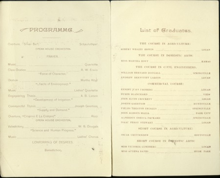 1894 UAC Commencement Program Page 1 & 2
