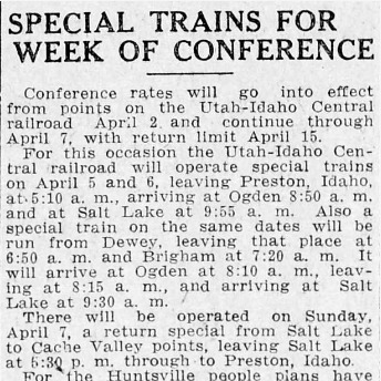 """Special Trains for Week of Conference,"" Salt Lake Tribune, 1918<br />"