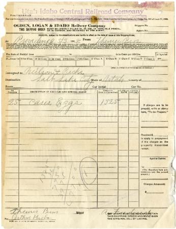 O.L.I. Shipping Order, Theurer Bros., 1918<br />