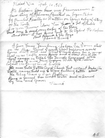 Letter from Frank Clark to Owen De Spain, February 16, 1953