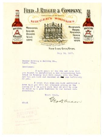 Letter to the Becker Brewing and Malting Company from the Fred J. Rieger and Company (2 of 2), 1917