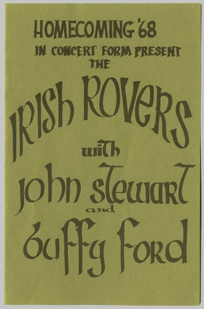 Irish Rovers concert poster from homecoming 1968