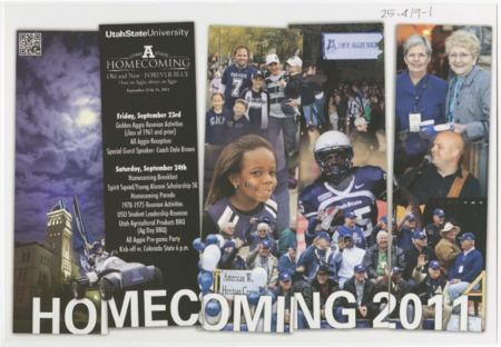 "Mailer - USU homecoming 2011, ""Old and New, Forever Blue."""