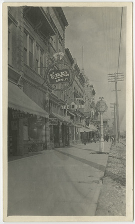 Main Street Businesses During the Construction of the Logan Rapid Transit Company Line, 1909-1910<br />