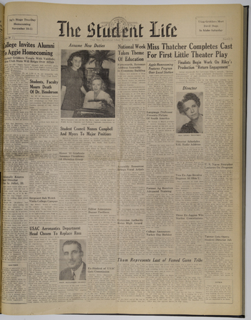 "A page from the ""Student Life"" newspaper, November 10, 1944"