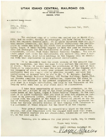 Royal Eccles to Geo. Champ Requesting Stock Conversion, 1919<br />