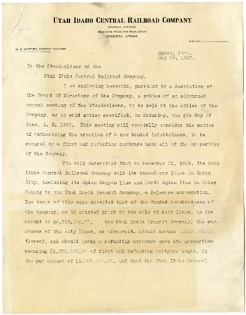 U.I.C. Stockholder Meeting Announcement Letter, 1920<br />